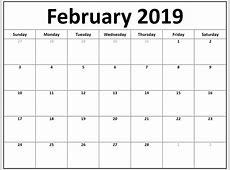 Free Printable February 2019 Blank Calendar Templates