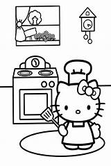 Coloring Kitchen Pages Kitty Cooking Hello Colouring Printable Sheets Cartoon Baking 색칠 공부 Books Cupcake Adult Clipart Christmas Alb Negru sketch template