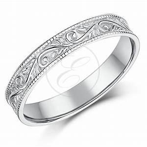 9ct White Gold Ring Swirl Patterned Wedding Ring 35mm
