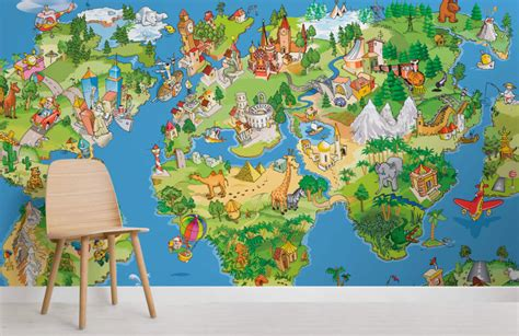 Childrens Animal Wallpaper Uk - animal map wallpaper wall mural muralswallpaper co uk