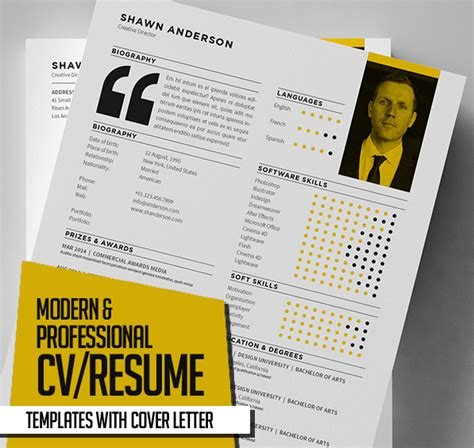 New Cv Template by New Modern Cv Resume Templates With Cover Letter