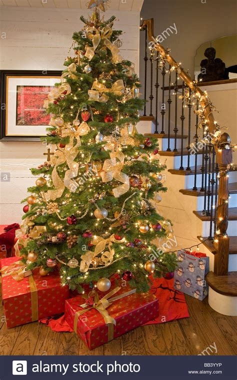 christmas tree presents and decorations in an american