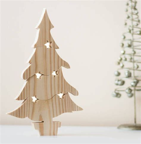 hand crafted wooden christmas tree puzzle ornament