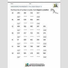 Ordering Numbers Worksheets Up To 1000