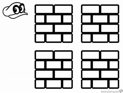 Mario Coloring Block Pages Brick Super Odyssey