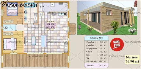 Maison Bois Moderne 2 Chambres Terrasse Et Toit Plat Végétal
