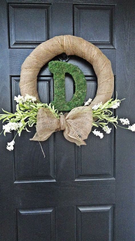 Spring And Summer Wildflower, Burlap, Moss Monogram Front