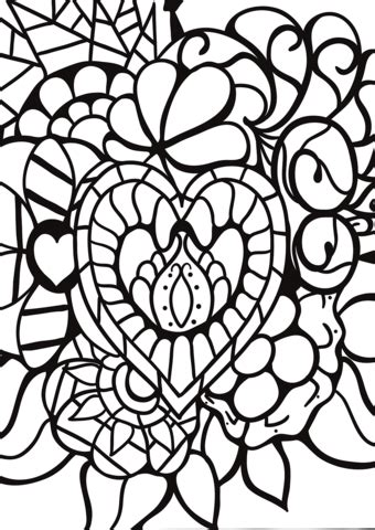 abstract heart patterns coloring page  printable