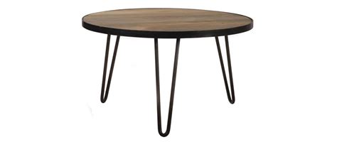 Table Basse Ronde Design Industriel 80x45cm Atelier Miliboo