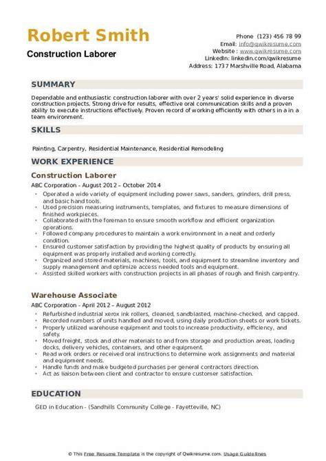 Construction Laborer Resume by Construction Laborer Resume Sles Qwikresume