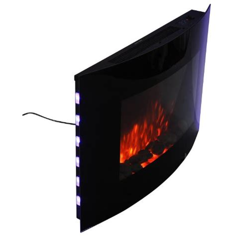 homcom led curved glass electric wall mounted fire place