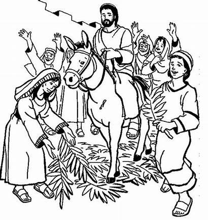 Palm Sunday Coloring Pages Hosanna Bible Jesus