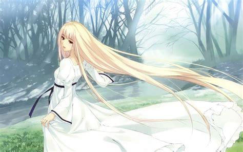 anime girl white dress wallpaper freehdwallcom