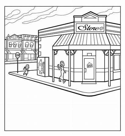 Grocery Drawing Draw Corner Market Drawn Sketch