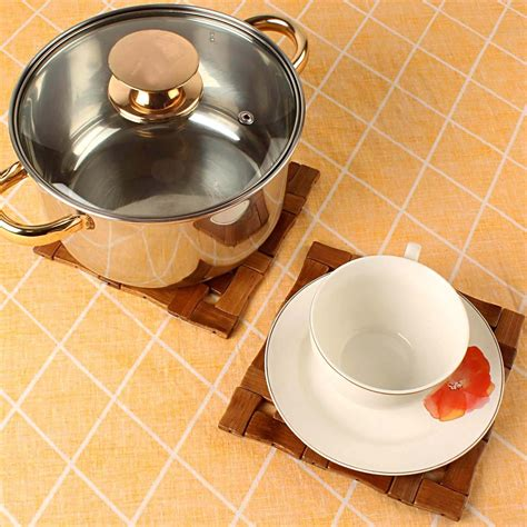 kuber industries bamboo wooden coaster pan pot holder heat insulation pad square    cm
