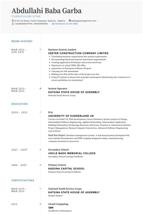 Database Business Analyst Resume by Business Systems Analyst Resume Template