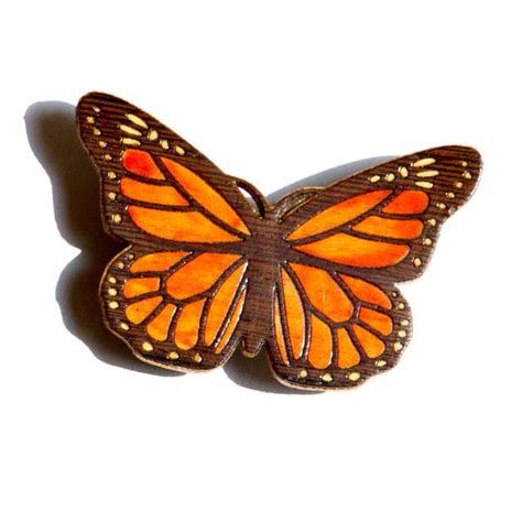 butterfly monarch brooch pin  pendant marquetry inlay wood linnell design