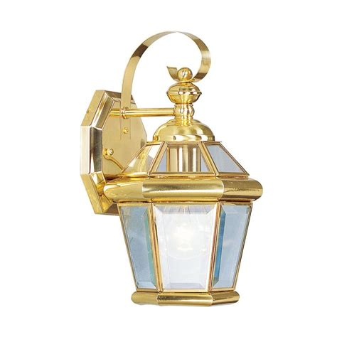 livex lighting wall 1 light polished brass outdoor