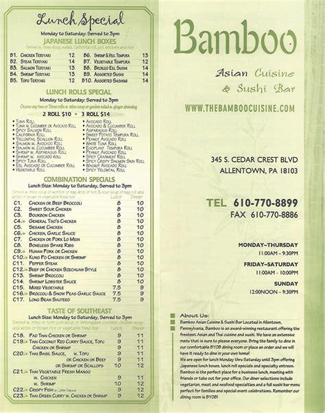 bamboo cuisine sushi bar restaurant allentown pa