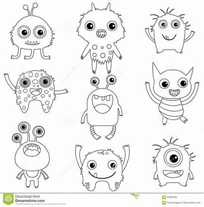 Monsters Funny Coloring Pages Aliens Outlines Vector