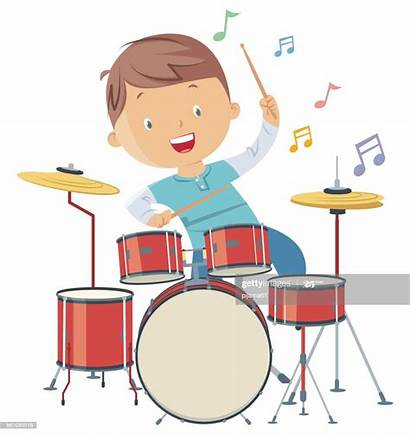 Drums Playing Child Drum Cartoon Clip Vector
