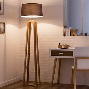 Lampe Design Bois : lampe salon sur pied lampadaire trepied soldes marchesurmesyeux ~ Teatrodelosmanantiales.com Idées de Décoration