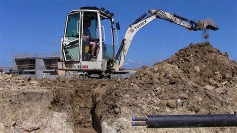terex tc mini excavator trench digging  hard clay youtube