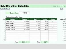 Credit Card Debt Calculator Excel Debt Snowball Program