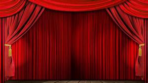 Opening red theatrical curtain with spotlights realistic for Stage curtains animation