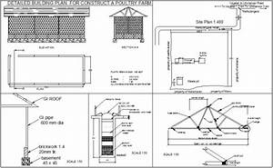 Construction detail view of poultry farm plan with detail ...