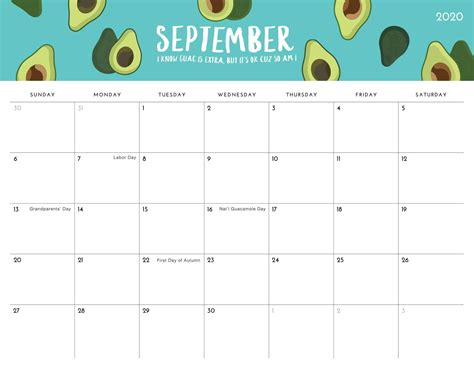 printable september  calendar  holidays sheets