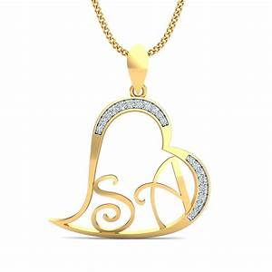 sa initials heart pendant kuberboxcom With s letter gold pendant