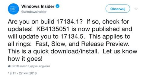 windows 10 april 2018 update uaktualniony do wersji 17134