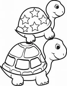 Turtle On Top Of A Turtle Coloring Page Crafts Turtle