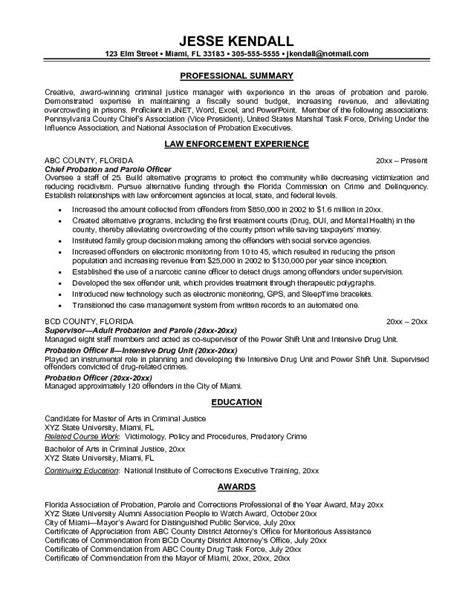 Entry Level Resume Objective Exles by Entry Level Probation Officer Resume Resume Ideas