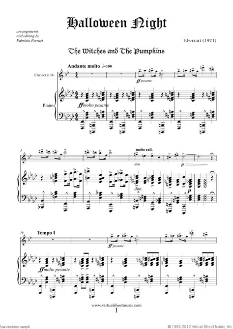 halloween sheet   clarinet  piano  interactive