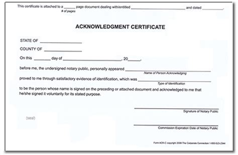 Notary Acknowledgment Certificates