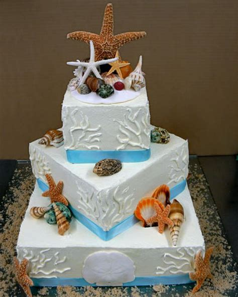 tier beach wedding cakes