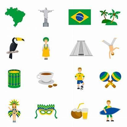 Symbols Culture Brazilian Icons Flat Vector National