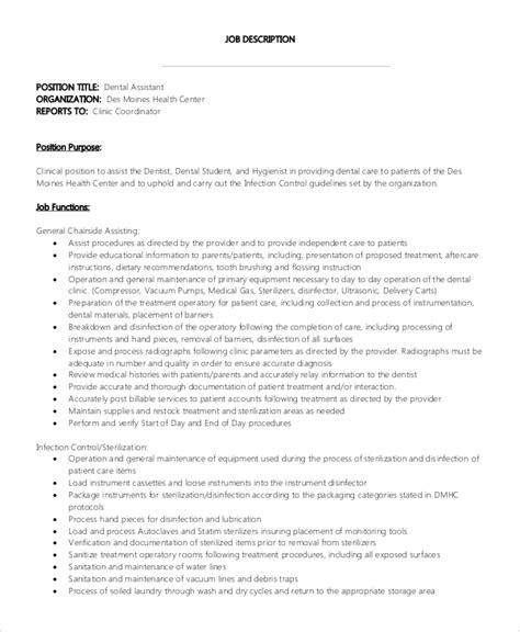 sample dental assistant job description  examples