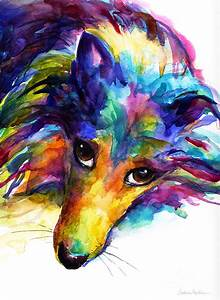 Colorful Sheltie Dog Portrait Painting by Svetlana Novikova