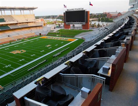 stadium mclane loge baylor perforated boxes box sports dividers infill aluminum university mounted railing custom rail commercial area field suite