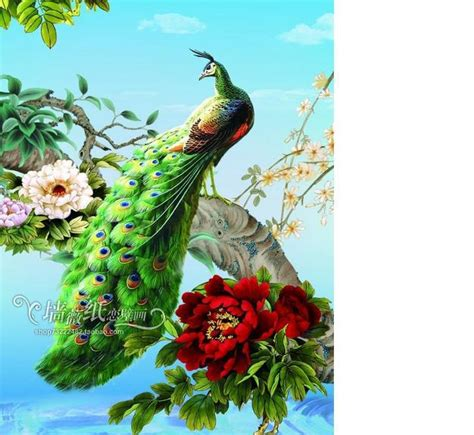 Customize Size High Quickly Hd Mural 3d Wallpaper Peacock