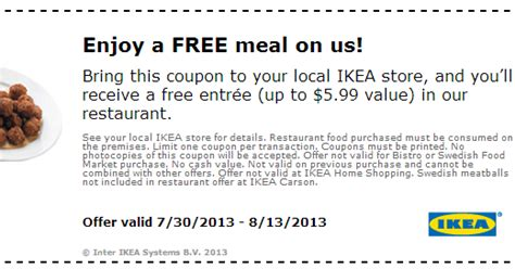 Coupons And Freebies Free Meal At Ikea With Coupon