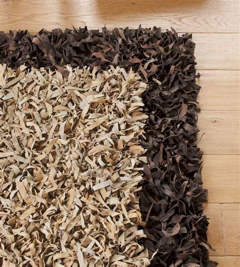 leather shag rug scrappy shag leather rug the green