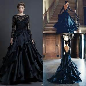 black plus size wedding dresses gorgeous black sleeve wedding dresses gown 2015 winter sheer draped fashion lace scoop