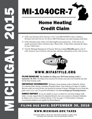 2015 michigan tax forms fillable online michigan 2015 mi 1040 cr 7 home heating