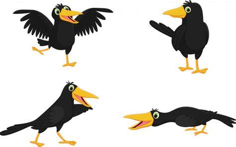 Set Of Cute Cartoon Crow Vector