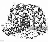 Tunnel Drawing Entrance Railway Grafiken Fels Sketch Clipart Vectors Graphic Cartoons Gettyimages Drawn Res sketch template