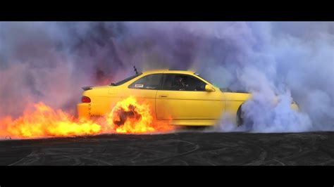 toyota soarer coloured smoke burnout catches fire